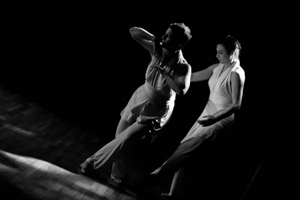 """Carol Dilley and Rachel Boggia, both of the Bates dance faculty, perform """"Phantom Ice"""" during the first performance of the New York Bates Alumni Dance Concert, on Feb. 24, 2012. Photograph copyright © 2012 by Ebbe Sweet."""