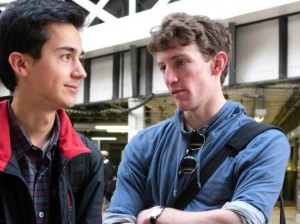 Ian Mahmud '12 and Colin Etnire '12, ranked among the top U.S. debate teams, chat during their November debate trip to Cambridge.