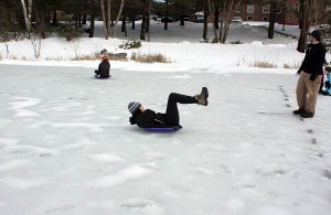 Human Curling during the 2012 Winter Throwdown. Photograph by Simone Schriger '14.