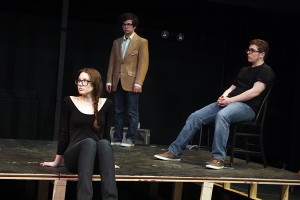 "Cast members in the Robinson Players' production of ""The Laramie Project"": Alanna Hoffman '15 as the Narrator; Nick Auer '15 as Jon Peacock, Matthew Shepard's academic advisor; Jonathan Schwolsky '15 as Tectonic Theater Project member Andy Paris."