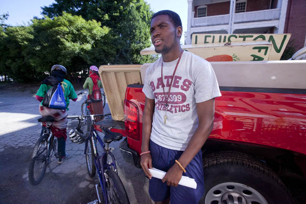 David Longdon '14, a Bates economics major from Accra, Ghana, spent summer 2011 as a leadership intern with Lots to Gardens, a youth-focused organization in Lewiston. Photograph by Phyllis Graber Jensen/Bates College.