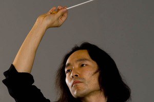 Hiroya Miura conducts the Bates College orchestra. (Phyllis Graber Jensen/Bates College)