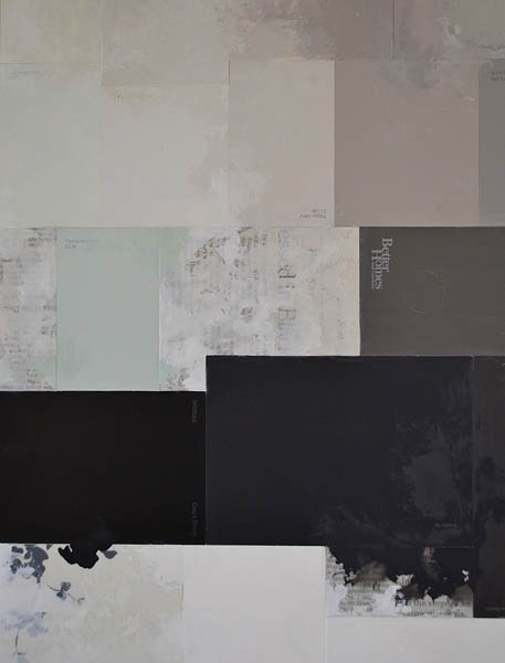 """How Deeply This"" (detail), 2012, paint chips, newspaper, Dura-Lar, wallpaper samples and oil on panel by Claire Banks '12."