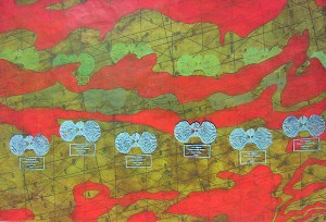 """Untitled Nautical Maps"" (2012) by Liane Fitzgerald '12. Screen print and acrylic on found map."