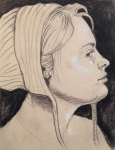 """After Hans Baldung, sister"" (detail), charcoal and pencil on paper by Ellie McDonald, 2012."