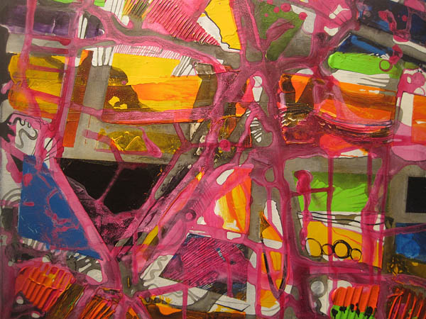 Untitled (2012) by Caroline Sheridan '12, oil paint, acrylic paint and India ink on canvas.