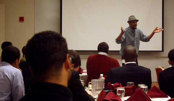 Ozzie Jones '92 offers advice at a Bates-hosted conference for black and Latino male students. Photograph by Simone Schriger '14.