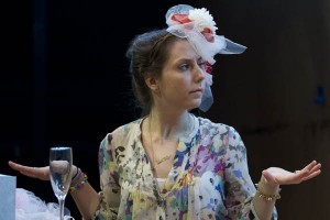 """Marketa Ort '13 plays Frances in the Bates production of Alan Ball's play """"Five Women Wearing the Same Dress."""" Photograph by Phyllis Graber Jensen/Bates College."""