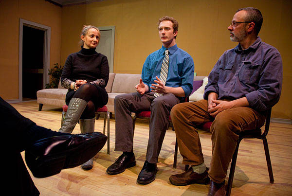 Flanked by Senior Lecturer in Theater Kati Vecsey and theatrical technical director Michael Reidy, Travis Jones '13 discusses his work as a set designer during the Mount David Summit. Photograph by Rene Minnis.