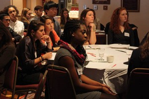 Participants listen during a presentation by the Bates Creative Mafia on March 31, 2012.