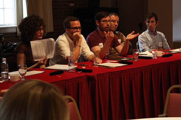 """Some presenters in the """"Creative Economy and How To Grease It"""" event on March 31, 2012: From left, Anna Stockwell '08, Peter Pawlick '05, Jeremy Fischer '06, Joshua Macht '91 and Andrew Karp '09. Photograph by Simone Schriger '14."""