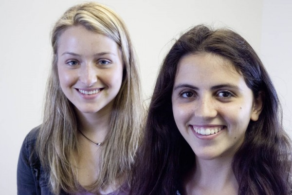 First-year students Natacha Danon, left, and Olivia Krishnaswami are sharing a Davis Projects for Peace grant for a project in India. Photograph by Phyllis Graber Jensen/Bates College.