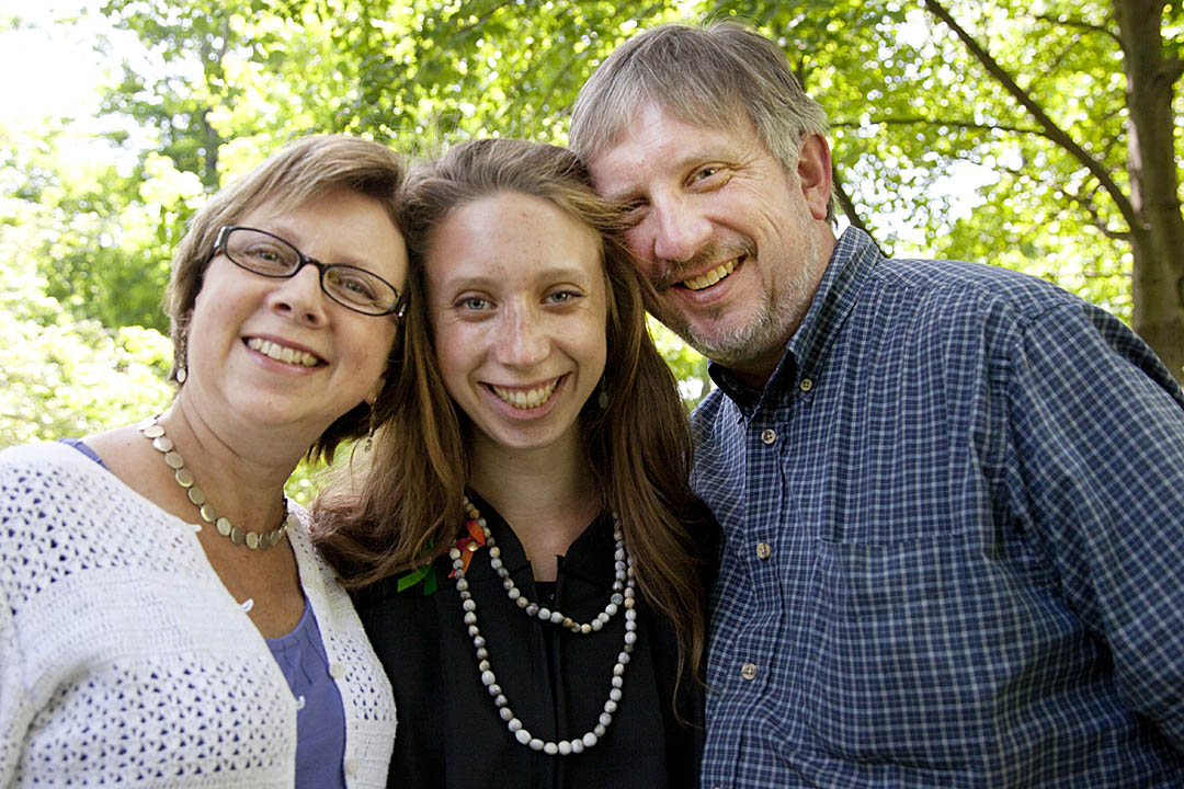 On Commencement morning, Erica Long '12 is flanked by parents Elizabeth Pohl '80 and Robert Long '79
