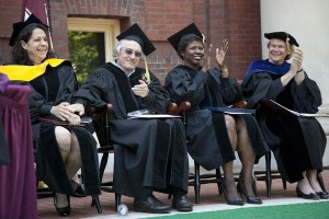 From left, Bonnie Bassler, Robert De Niro, Gwen Ifill and interim Bates College President Nancy Cable watch the proceedings at the 146th Commencement. Photograph by Phyllis Graber Jensen/Bates College.