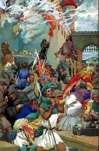 This depiction by illustrator Alfred Garth Jones (1872–1955) of the Peasants Revolt features a male mob, but Associate Professor of English Sylvia Federico's research proves that women stormed the castle, too.