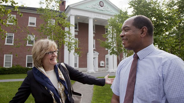 Bates President Clayton Spencer and James Reese, associate dean of students, shared a moment of deja vu Monday morning, July 2, as the eighth president of the college began her first week in office. The two were high school classmates.