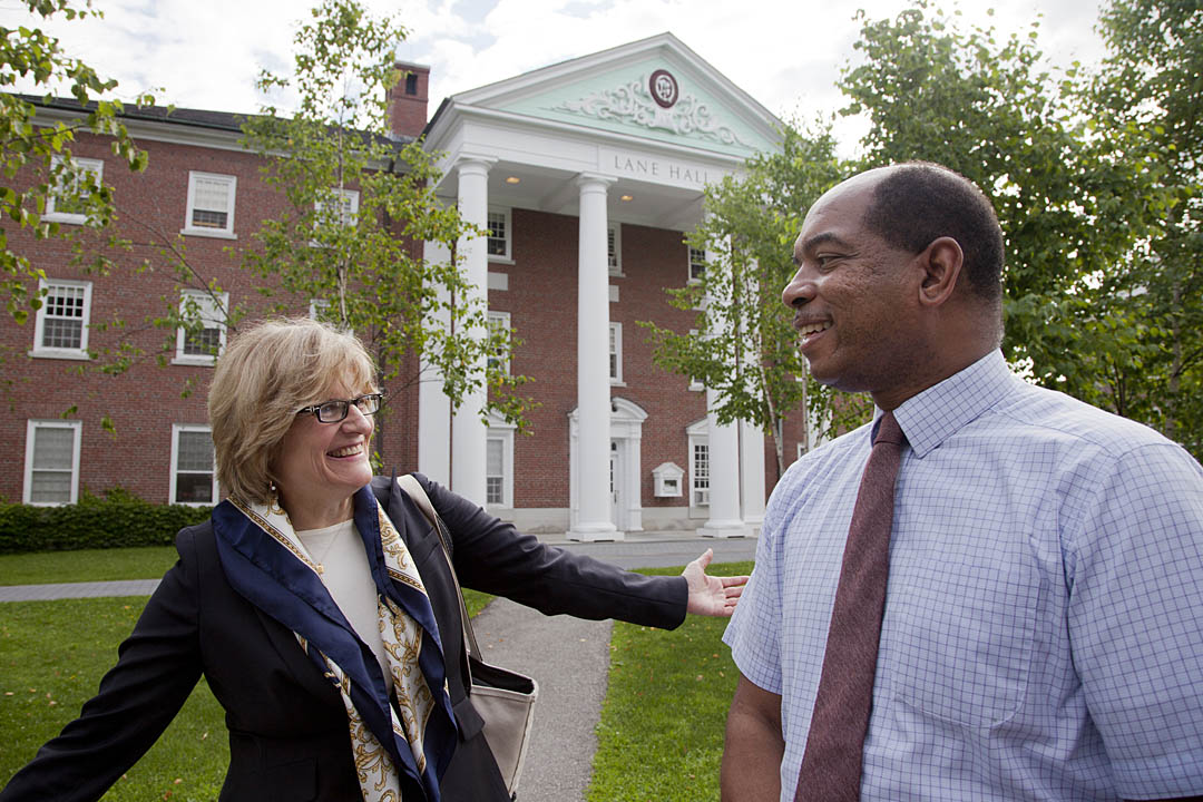 Clayton Spencer First day of school President Clayton Spencer News Bates College
