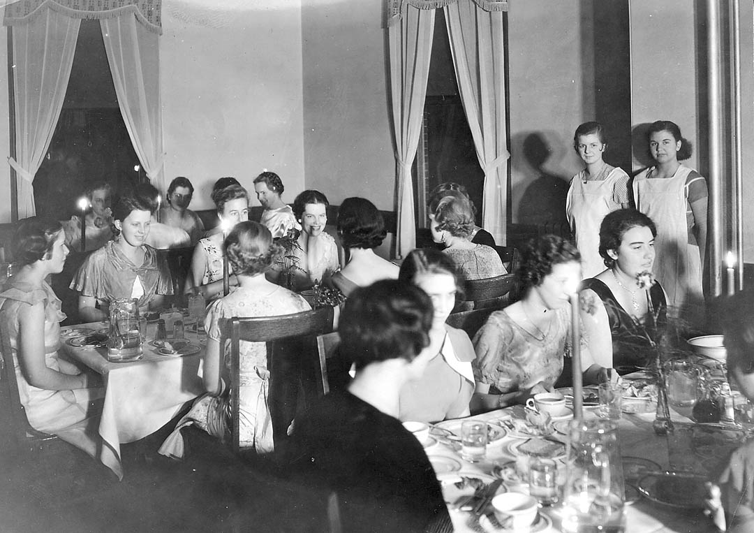 The women's dining room in Rand Hall, circa 1920. The archives helps faculty and students investigate how Bates' inclusive history has played out over time. Photograph courtesy of the Muskie Archives and Special Collections Library.