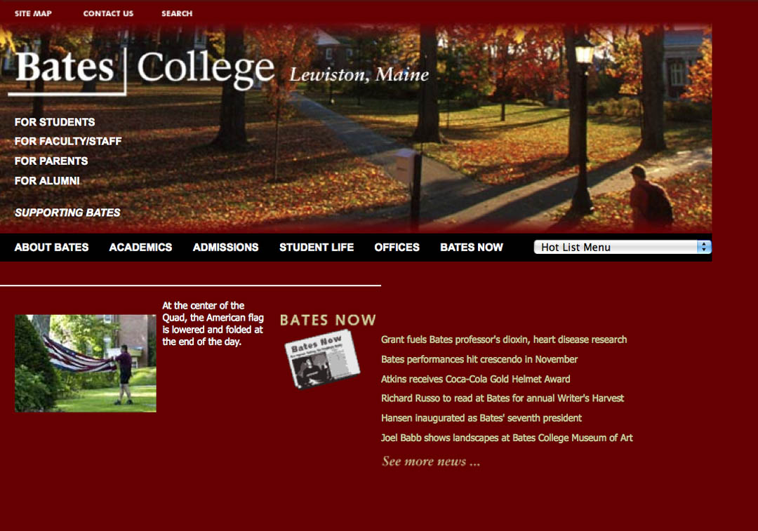 The circa 2002 Bates home page was seriously garnet. A thumbnail slide show was a hint of things to come.