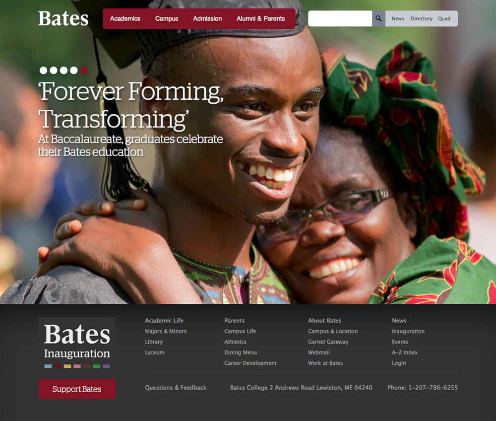 Redesigned in 2011, the Bates website took home top honors in the 2012 eduStyle Awards.