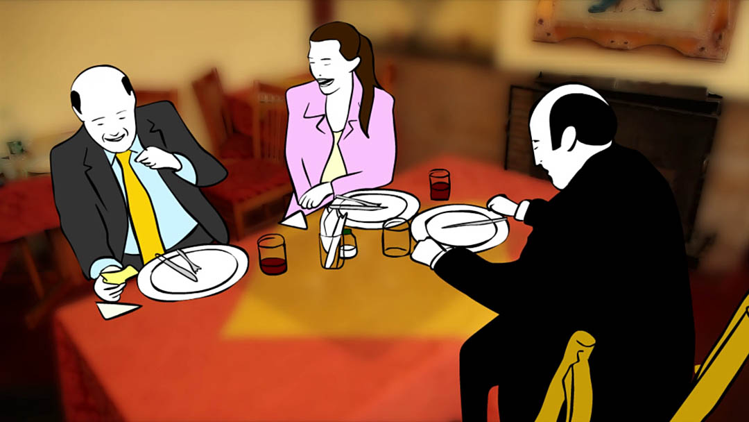 "A scene from ""Fat, Bald, Short Man,"" a 2011 production in rotoscope by Colombian director Carlos Osuna."