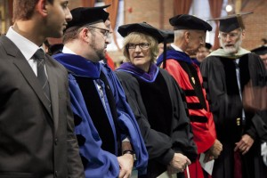 From left, Convocation speakers Umar Khan '13, professor Stephen Engel and Bates President Clayton Spencer chat prior to Convocation 2012. Also shown are professors Sawyer Sylvester and Thomas Tracy. Photograph by Phyllis Graber Jensen/Bates College.