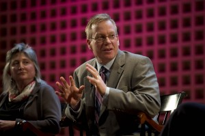 "William Carlezon '86, professor of psychiatry at Harvard University, speaks during the ""Engaged Liberal Arts"" panel discussion at Olin Arts Center Concert Hall on Oct. 26. At left is Bates English department chair Lillian Nayder. Photograph by Michael Bradley/Bates College."