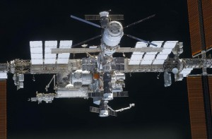 A close-up view of the International Space Station take from the space shuttle Discovery in March  2011. Photograph courtesy of NASA.