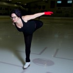 The college's Whitehouse Professor, Erica Rand is an avid figure skater, shown here doing a catch-foot spiral. (Mike Bradley/Bates College)