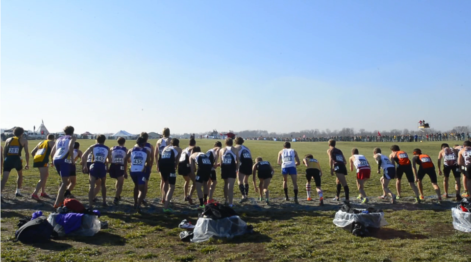 "A screen capture from ""In the Running,"" a video about the Bates men's cross country team's preparations and performance in the NCAA Division III Championships."