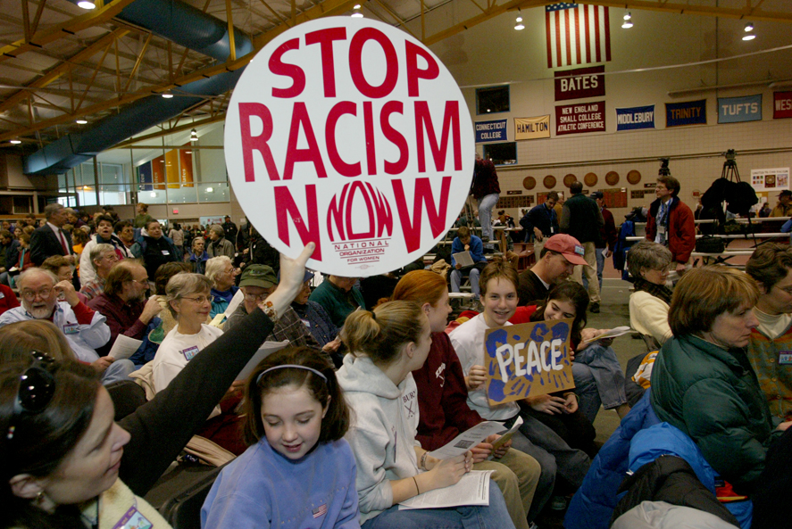 The Many and One rally in Merrill Gym on Jan. 11, 2003, sent a strong, unified message far and wide. Photograph by Phyllis Graber Jensen/Bates College.
