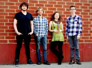 Alba's Edge. From left, Doug Berns, bassist; Neil Pearlman, pianist; Lilly Pearlman, fiddler; Jacob Cole, percussionist. At Bates, Katie McNally will fill in for Lilly Pearlman.