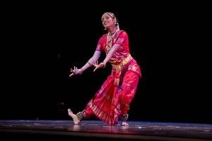 "Ramya Ghantasala '15 performs a classical Indian dance called ""Bharatha Natyam"" during Asia Night 2013. Photograph by Michael Brady/Bates College."