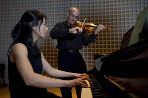 Chiharu Naruse and Dean Stein. Photograph by Michael Bradley/Bates College.