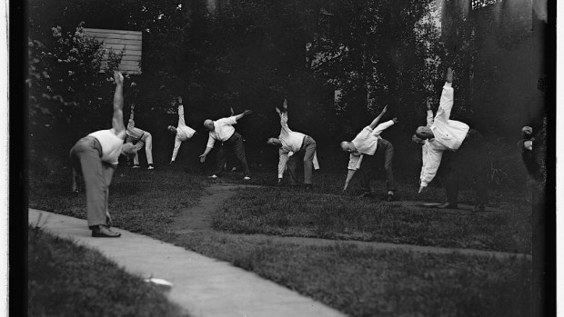 Members of President Woodrow Wilson's cabinet appear to be maintaining their fitness resolutions in this photo from August 1917. Photo courtesy of Library of Congress, National Photo Company Collection.