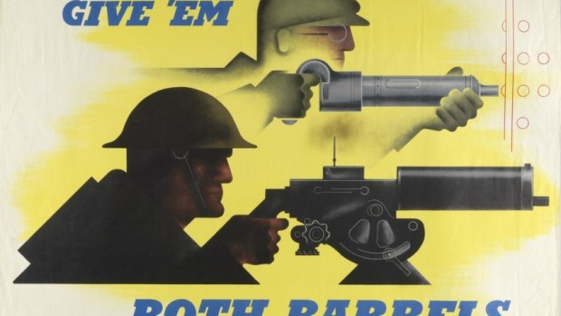 "This World War II propaganda poster produced by the U.S. was the Dec. 8, 2012, entry on the Cooper-Hewitt blog Object of the Day. The poster's color choice, Matthew Kennedy explains sacrifices ""traditionally patriotic reds and blues in favor of a more arresting hue, intended to bolster emotion."" Poster: Give 'Em Both Barrels. Designed by Jean Carlu, printed by the U.S. Government Printing Office, 1941. 1980-32-1201."