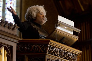 "Anthea Butler, associate professor and graduate chair of religious studies at the University of Pennsylvania, delivers her keynote address, ""MLK and America's Bad Check: America's Poor in the 21st Century."" Photograph by Phyllis Graber Jensen/Bates College."