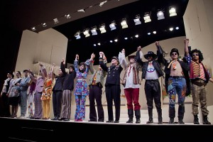 "During a dress rehearsal, the cast of ""Two Gentleman of Verona,"" featuring costumes by Carol Farrell, takes a bow."