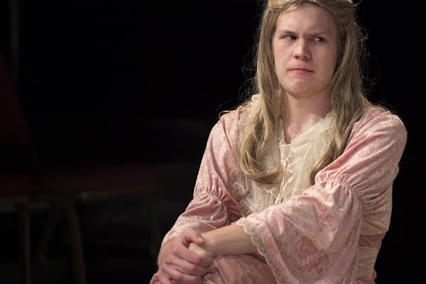 Gunnar Manchester '15 is Valentine Crambagge in the 17th-century comedy, performed at Bates March 21-24.