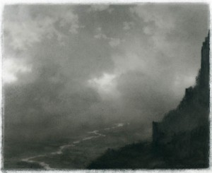 """Citadel Ruin"" (2010), a drawing in charcoal on Mylar by Dozier Bell. Courtesy of Aucocisco Galleries, Portland, Maine."