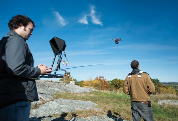 A team from Vermont-based YBVisuals captures video and photographs from their radio-controlled multicopter atop Mount David on Oct. 17, 2012. Photograph by Mike Bradley