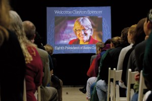 Viewers in 17 countries watched the livestream of the announcement of Clayton Spencer as president-elect in December 2012. Photograph by Phyllis Graber Jensen/Bates College.