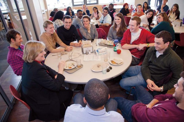 Spencer dines with student leaders in New Commons as she meets and greets on campus after the announcement of her election on Dec. 4. Photograph by Phyllis Graber Jensen/Bates College.