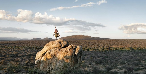 Samburu warrior in Laikipia, Kenya, for a safari tour company. Photograph by Ryan Heffernan '05