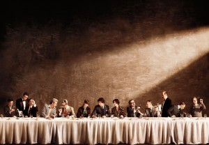 "Verhave photographed this photomural, ""Judgment of Paris,"" which recalls The Last Supper to reference the famous 1976 French wine tasting won by California wines, and was created with Diller Scofidio + Renfro, for the exhibition How Wine Became Modern: Design + Wine 1976 to Now, San Francisco Museum of Modern Art. Photograph by Alexander Verhave '05."