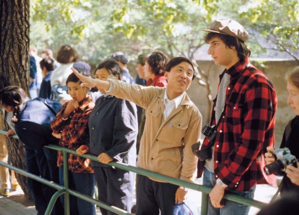 In 1981, Paul Marks '83 listens to the Bates guide, Mr. Xu, who bet Marks that he couldn't learn Chineses.