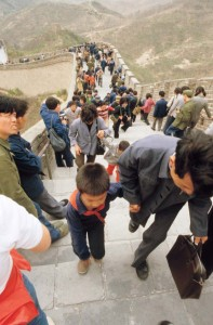 By 1981, amid enduring images from China, like this photo of visitors to the Great Wall, subtle socioeconomic changes were under way. Photograph by Steve Stone '83.