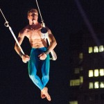 The trapeze gives flight to Travis Jones' senior theses in theater and art