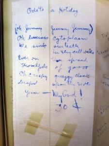 """Ode to a Hotdog,"" from a freshman year scrapbook of Muriel Swicker '42."