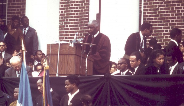 Mays delivers the final eulogy for the slain Martin Luther King Jr. on April 9, 1968, at Morehouse College. Photograph courtesy of Howard University.